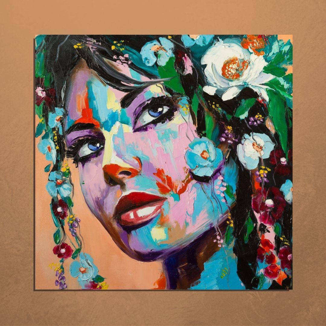 Quadro Decorativo Para Sala Rosto Feminino Abstrato - 80x80cm
