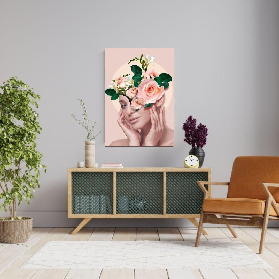Quadro Decorativo Para Sala Rosto Feminino Moderno 100x70cm