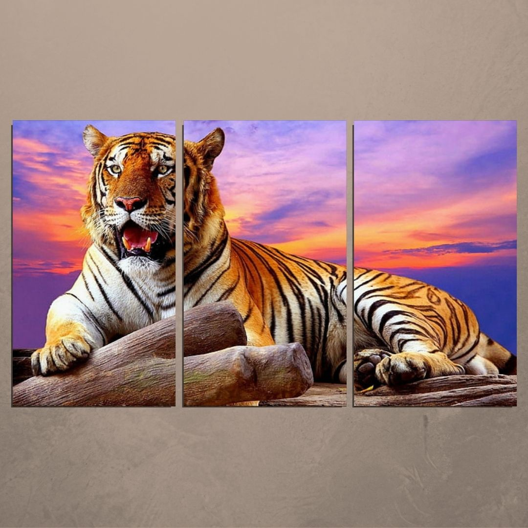 Quadro Decorativo - Tigre - 3 Telas - 120x70cm