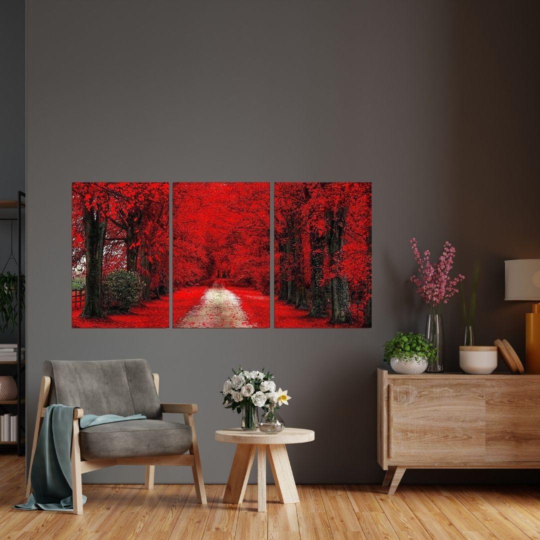 Quadro Para Sala - Três Telas - Caminho com Arvores Vermelhas - 120x60cm.