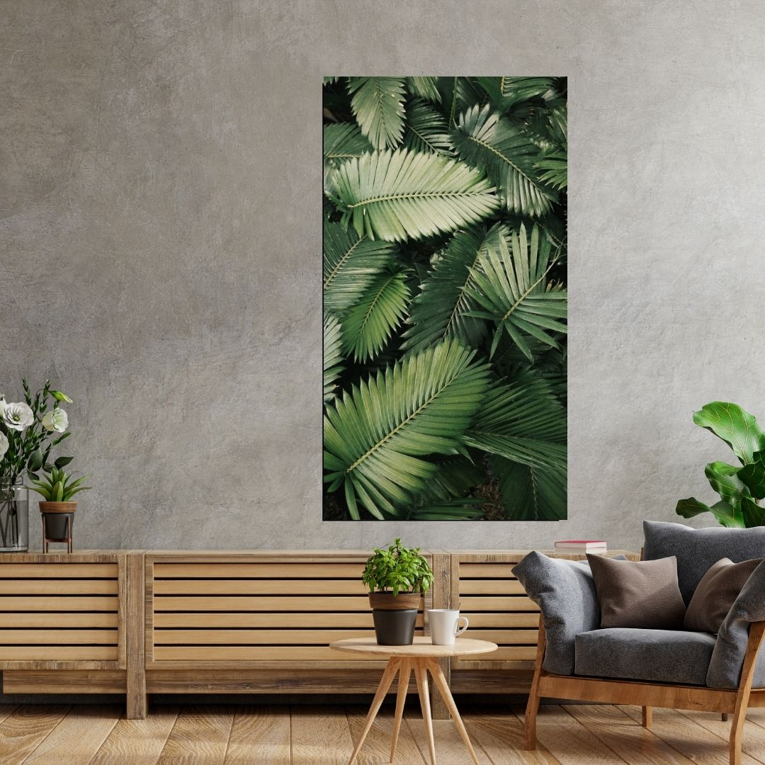 Quadro Decorativo - Vertical - Folhas Verdes - 100x55cm