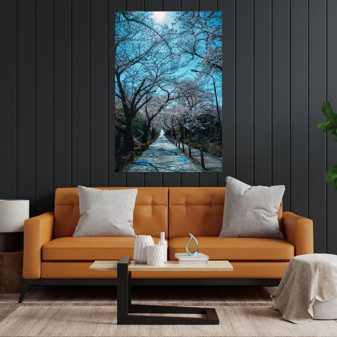 Quadro Decorativo Para Sala - Caminho Sob as Arvores - 90x60cm