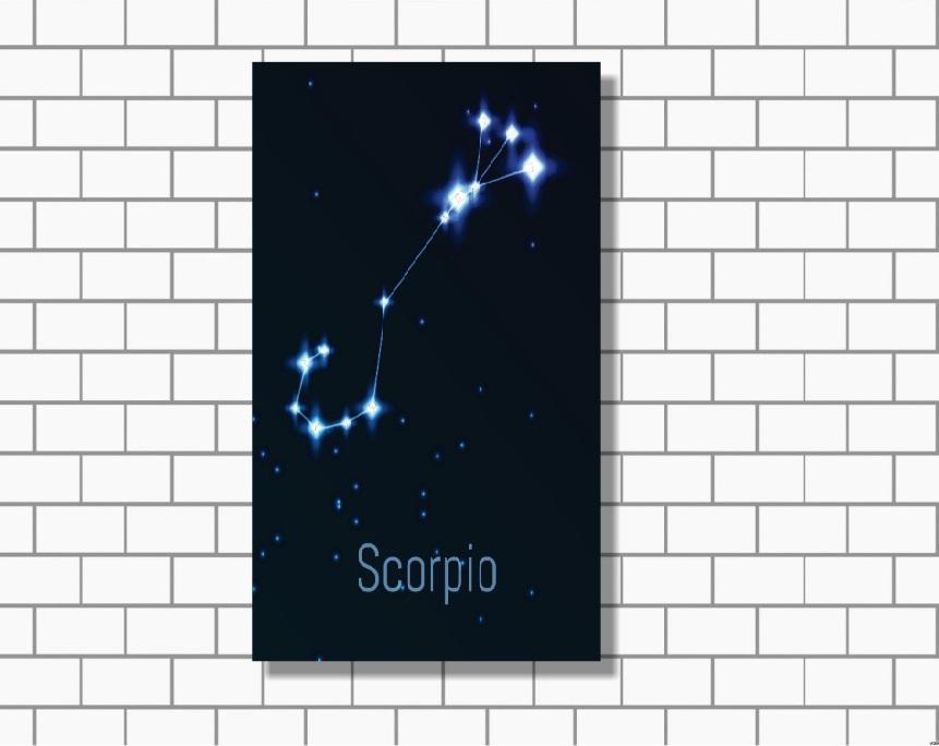 Quadro Decorativo - Zodíaco - Constelação Signo Escorpião - 1 peça