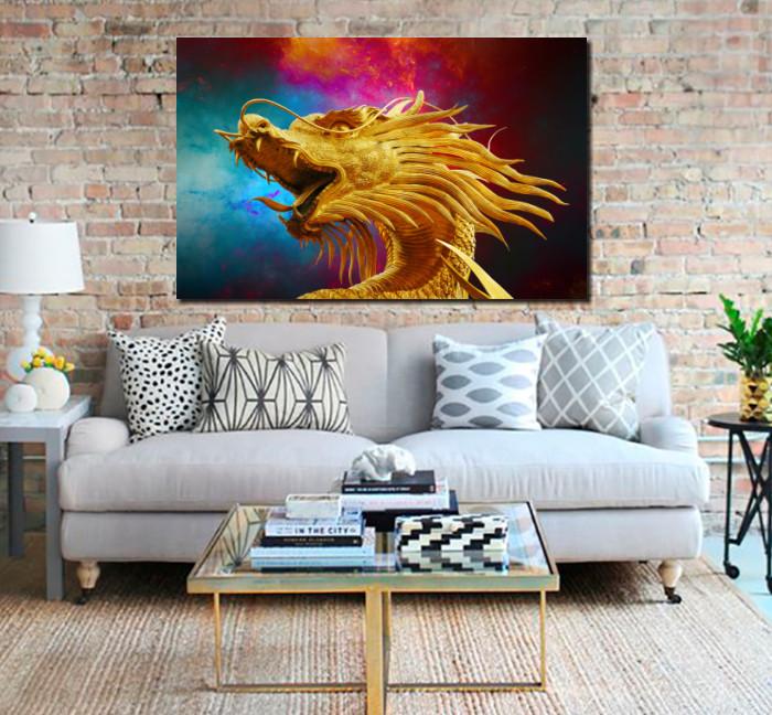 Quadros Decorativo - Dragão Colorido - 110x70cm