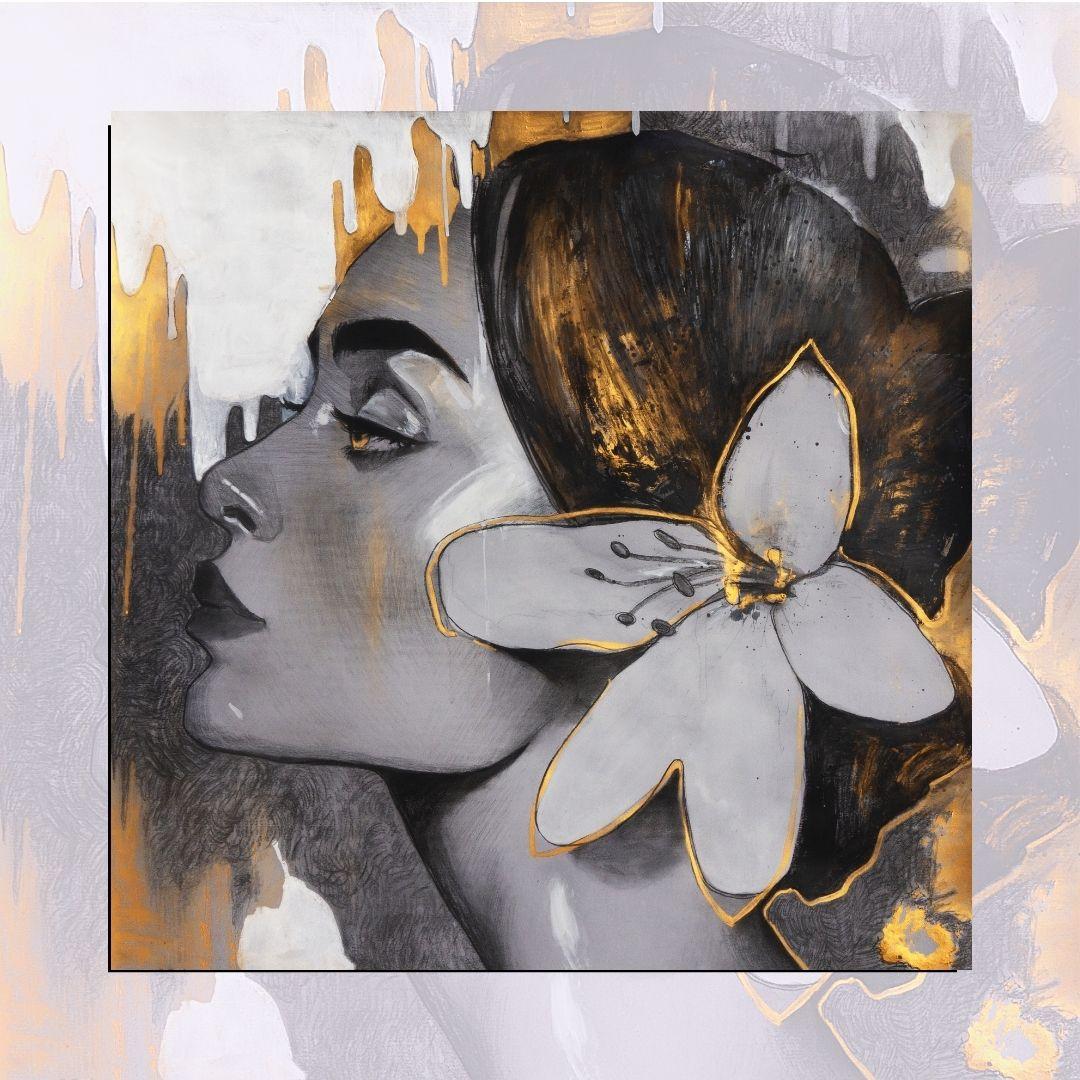 Quadro Decorativo - Rosto Feminino em Perfil - Estilo Pintura - 80x80 cm