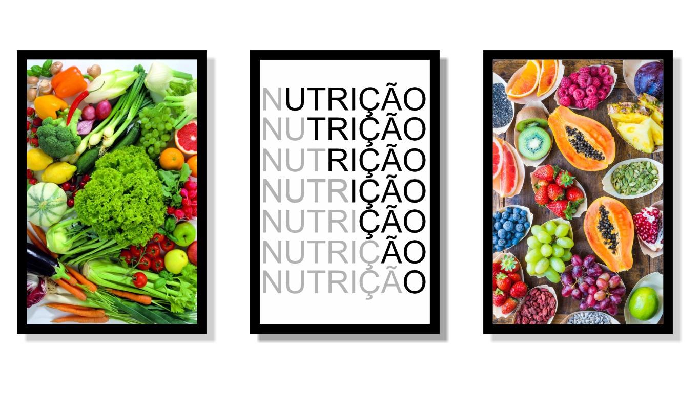 Quadros Decorativo - Profissão - Nutrição - Três Telas - 60x40cm