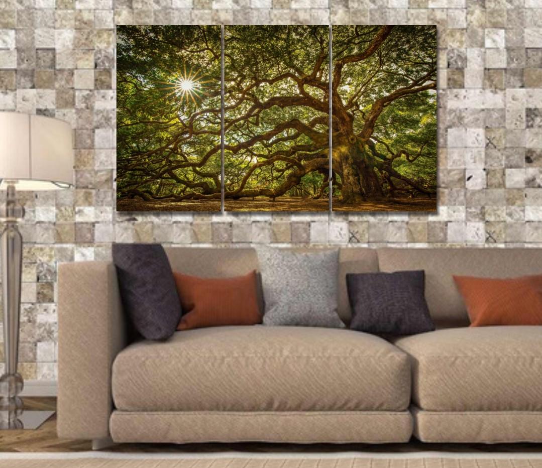 Quadro Decorativo - 3 telas - Arvore - Carvalho - 120x70cm