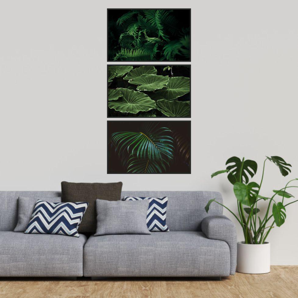 Quadros Decorativos - 3 Tels - Folhas Verdes - 50x80