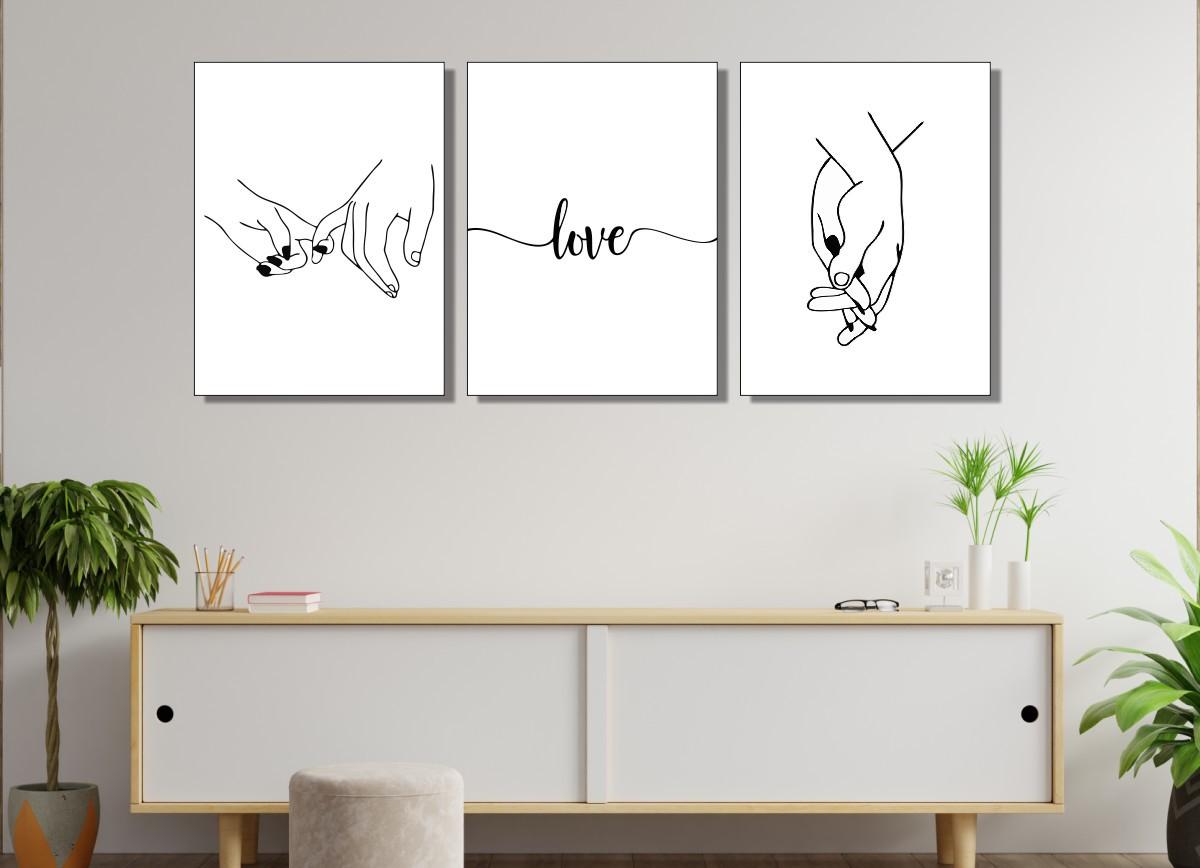 Quadros Decorativos - 3 Telas - Mãos Dadas - Love - 120X60