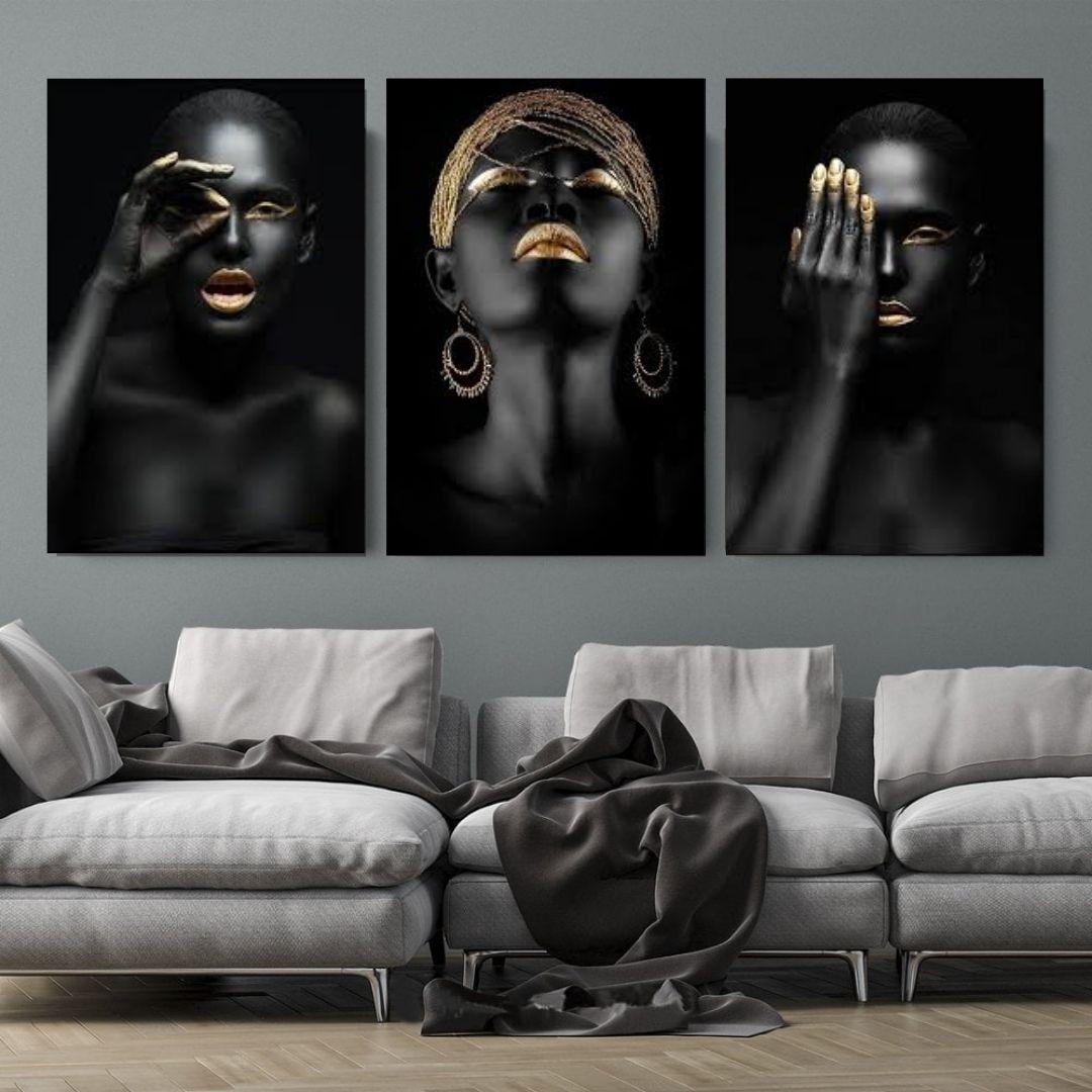 Quadros Decorativos - 3 Telas - Negras Black Gold - 60x40cm