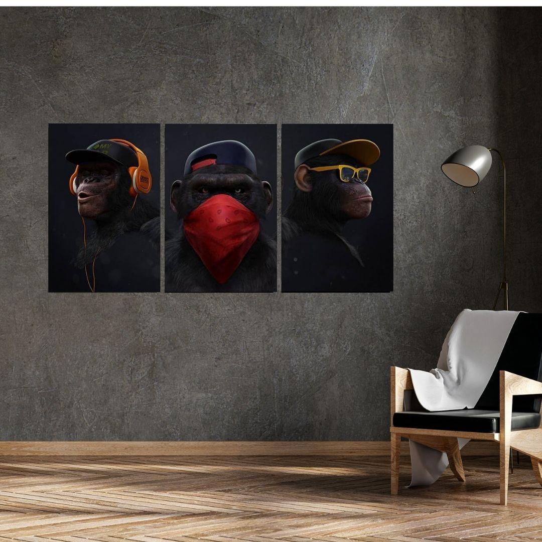 Quadros Decorativos  -A Gangue dos Macacos - 3 Telas - 60x40cm