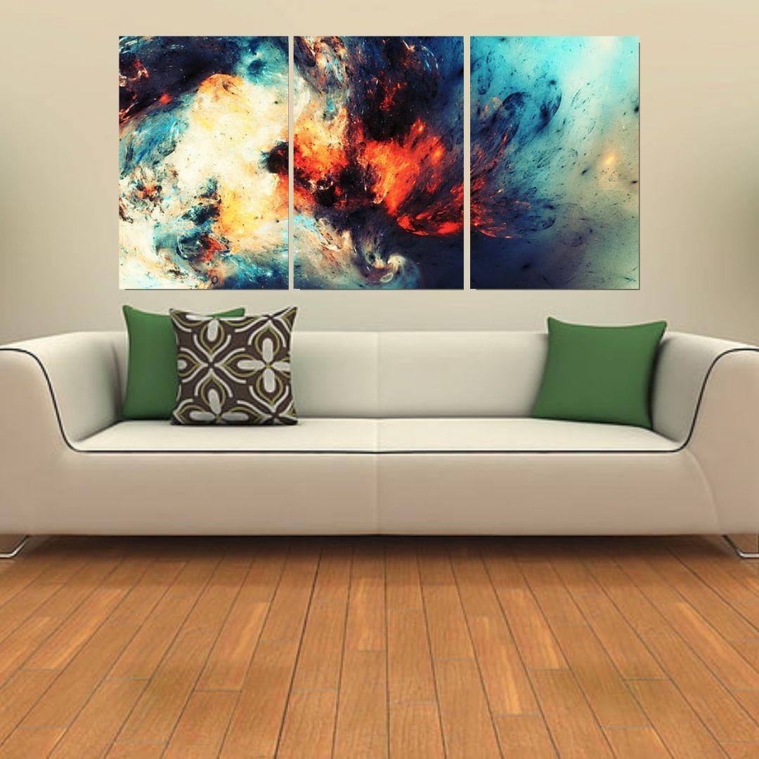 Quadro Decorativo - Abstrato Colorido - 3 Telas - 120x60