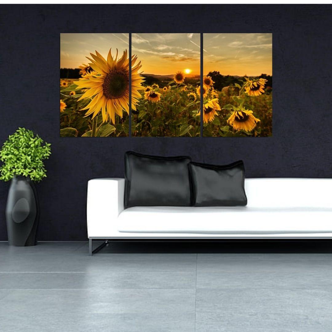 Quadro Decorativo - Campo com Girassóis - 120x60cm