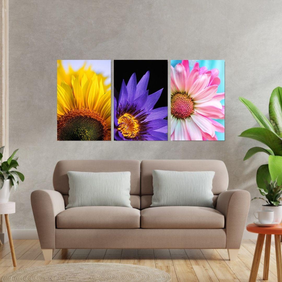 Quadros Decorativos - Flores Coloridas - 3 Telas - 60x40cm