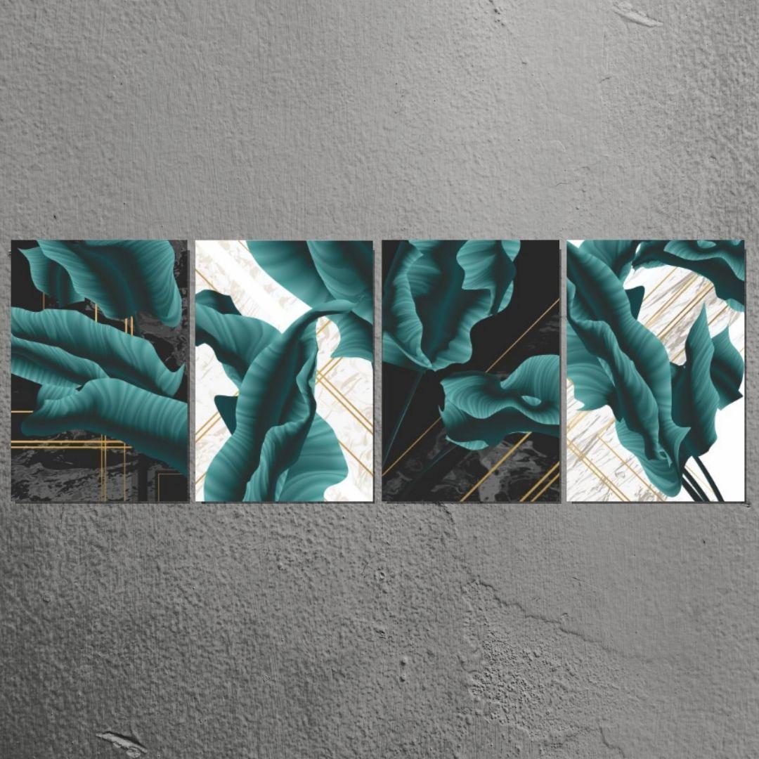 Quadro Decorativo 4 Telas - Folhagens Abstratas - 40x60 cm