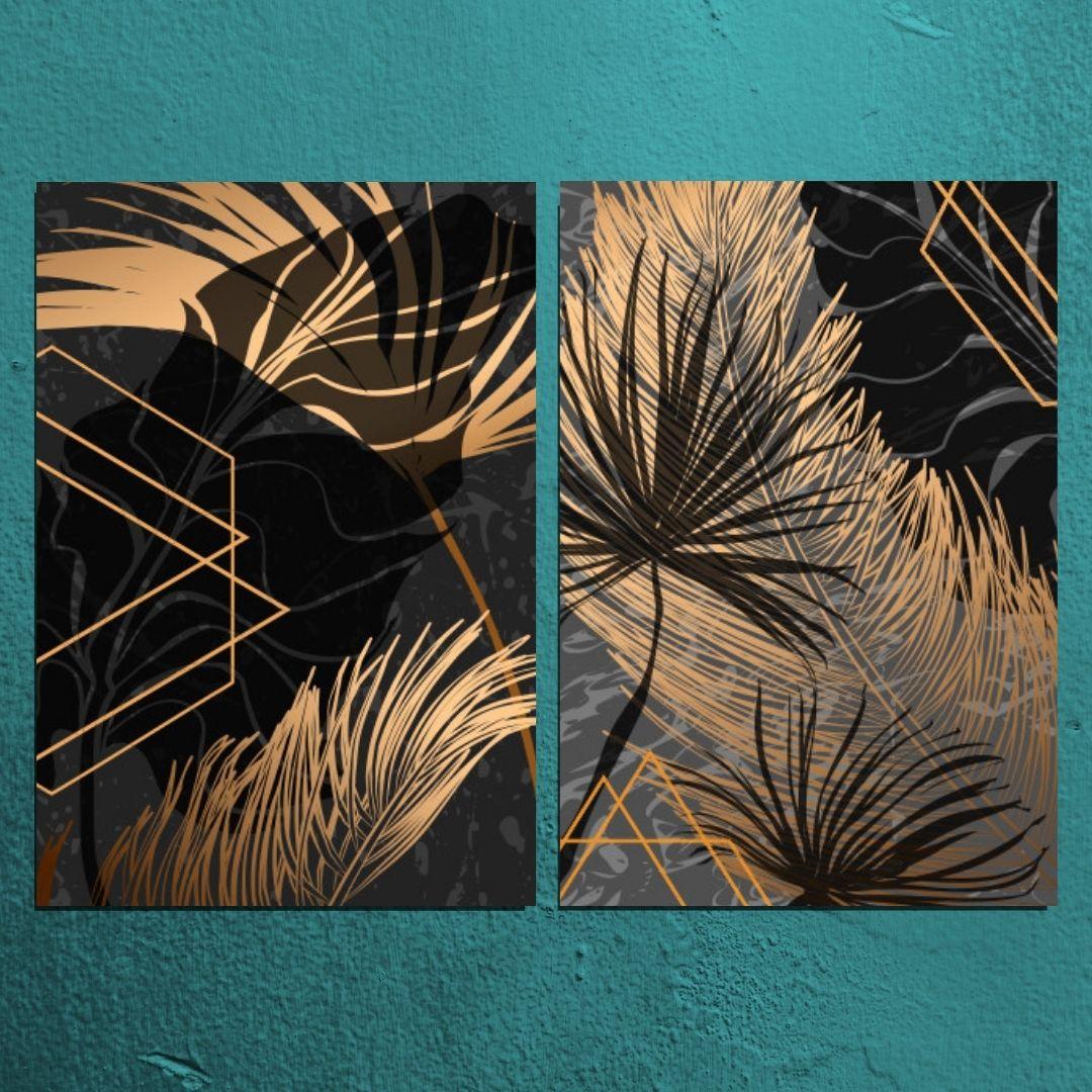 Quadros Decorativos - Folhas Tropicais Abstratas - 80x60cm