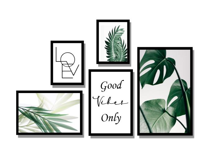 Quadros Decorativos - Folhas Verdes com Frases