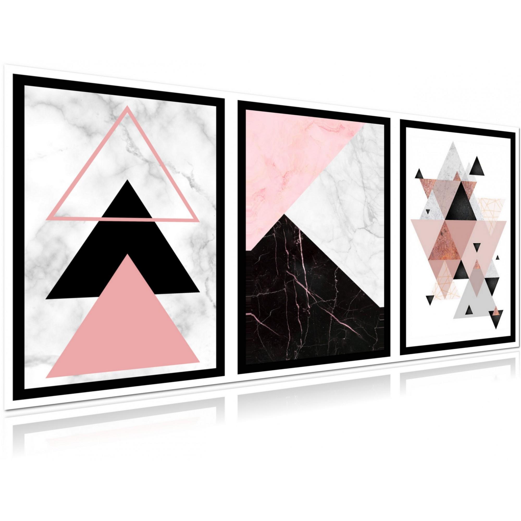 Conjunto com 3 Telas Para Sala - Abstrato Geometrico - 60x40cm