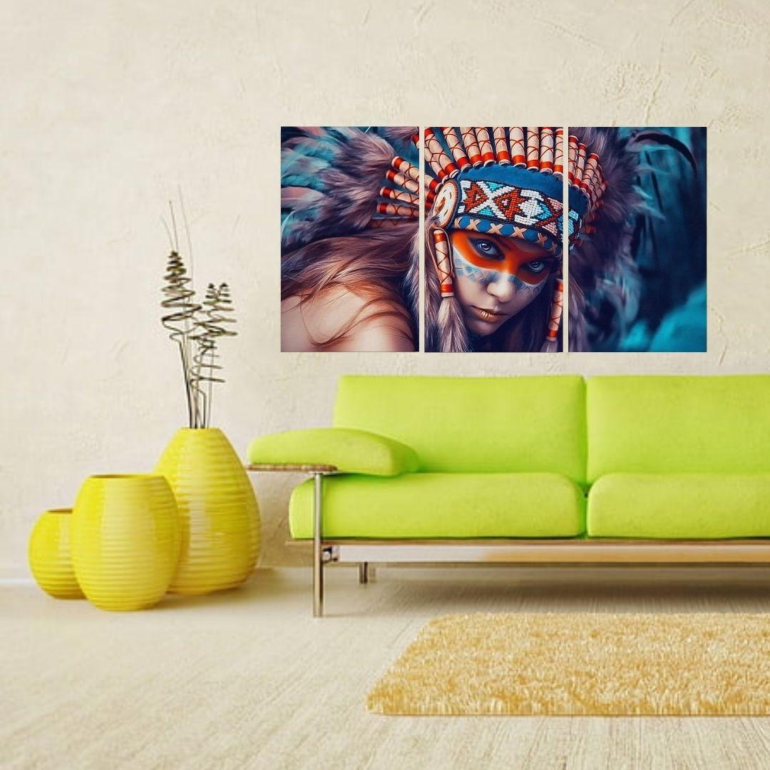 Quadros Decorativos - Índia com Cocar - 3 Telas - 120x65