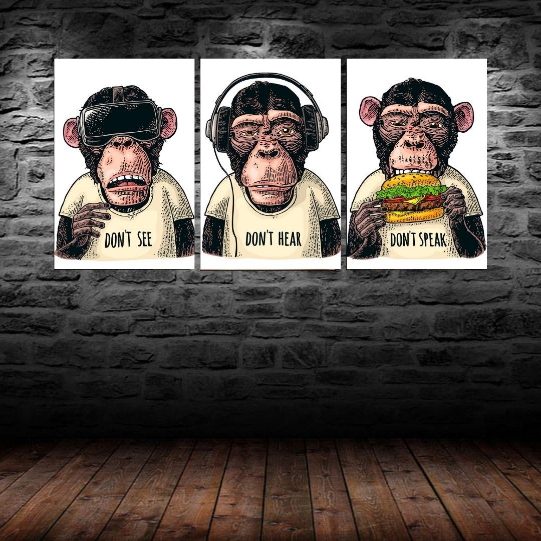 Conjunto Com Três Telas - Macacos Engraçados - 60x40cm