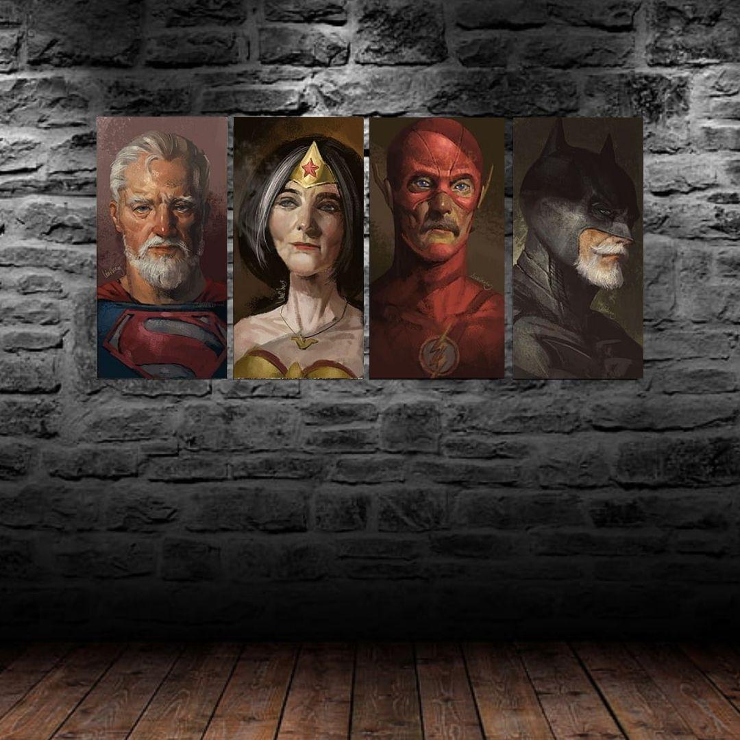 Quadros Decorativos - Velhos Super Heróis - 4 Telas - 50x25cm