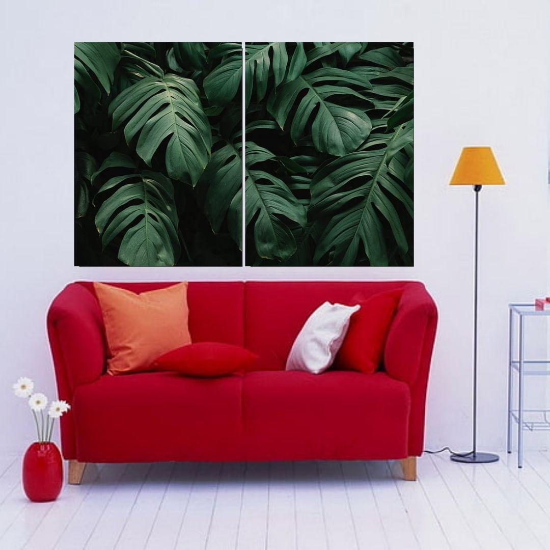 Quadro Para Sala - Folhagens - Costela de Adão  -2 Peças - 120x80cm