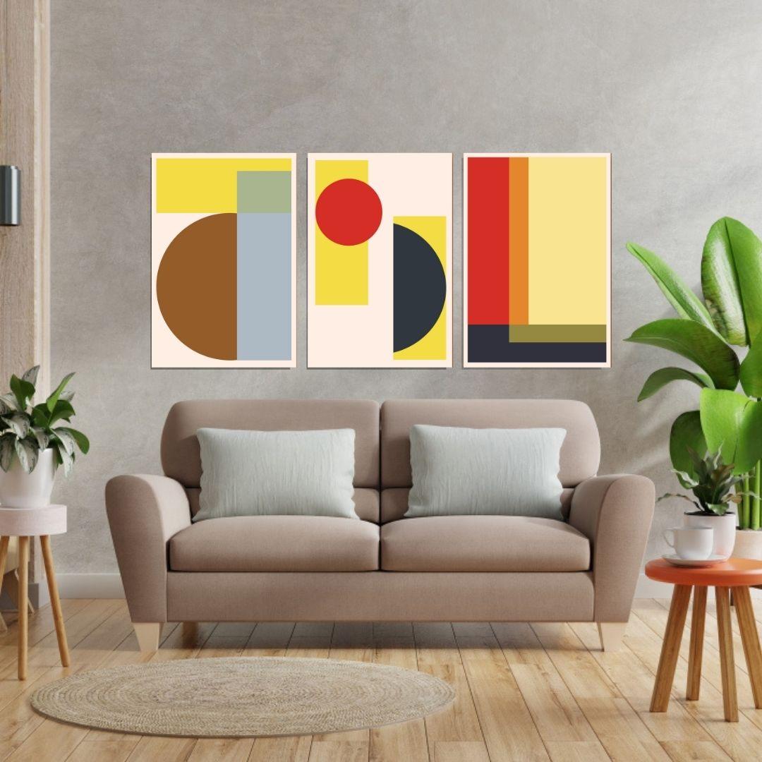 Quadros Para Sala - Abstratos Geométricos - 3 Telas - 60x40cm