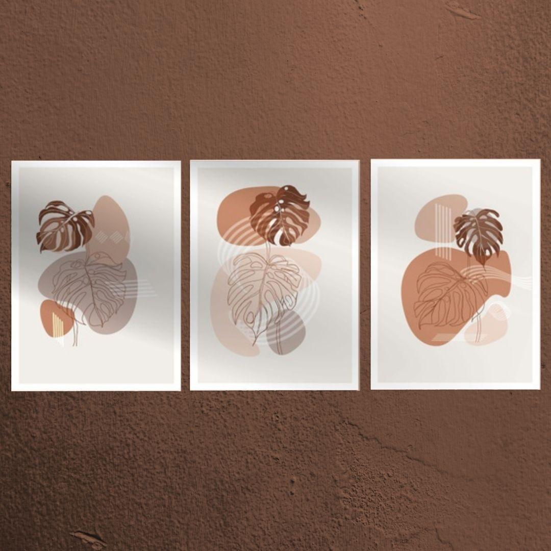 Quadros Para Sala - Abstratos Minimalistas - 3 Telas - 60x45cm