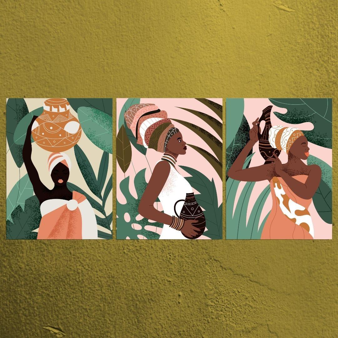 Quadros Decorativos Para Sala - Africanas Estilizadas - 3 Telas - 60x45cm