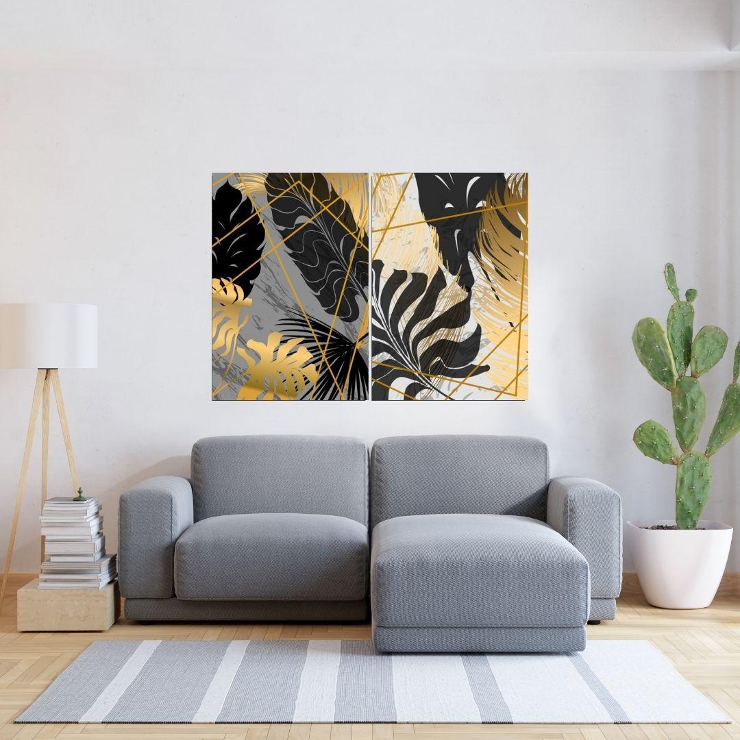 Quadros Para Sala - 2 Telas - Folhagens Tropicais Abstratas - 80x60cm