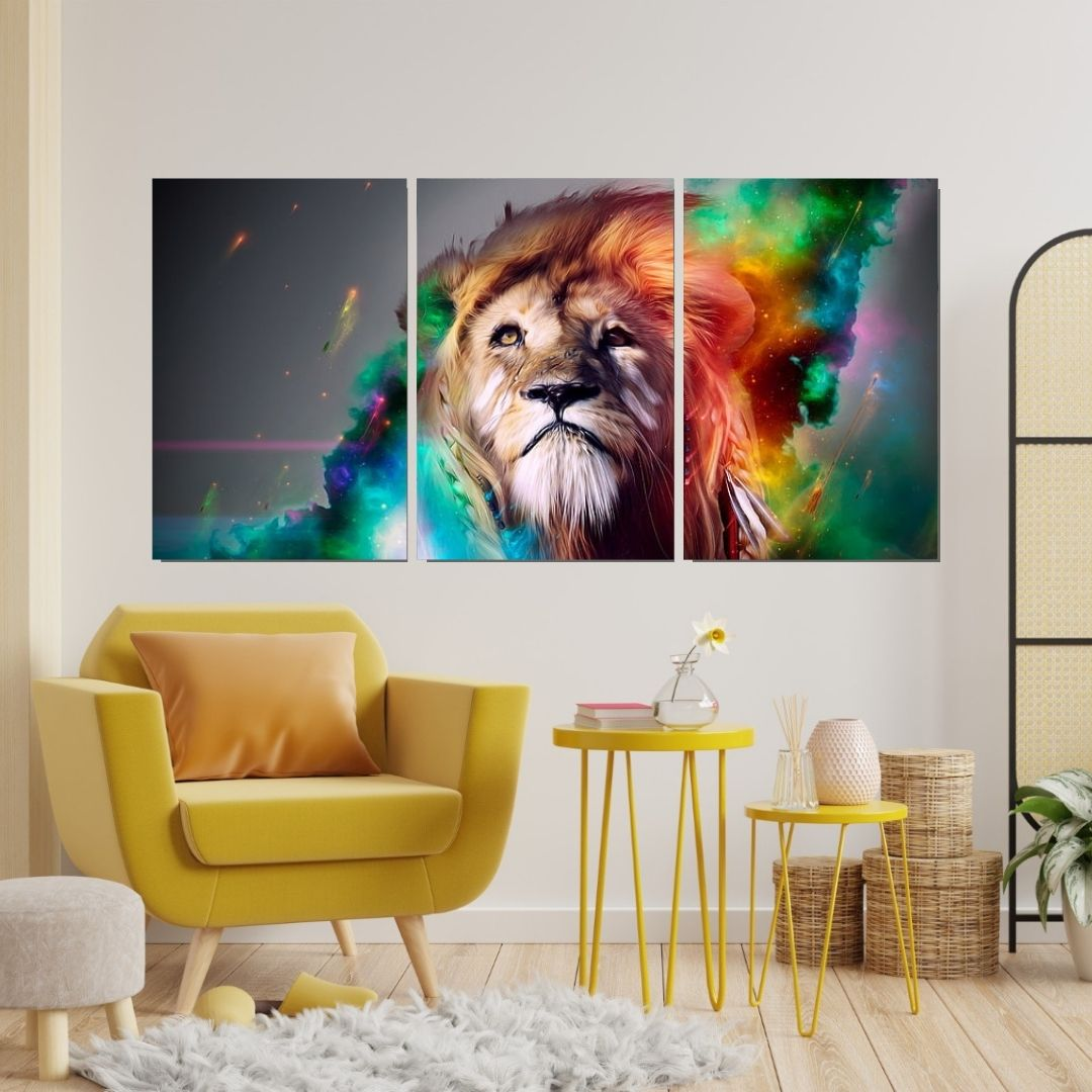 Quadros Para Sala - Leão Abstrato -3 Telas - 120x60.