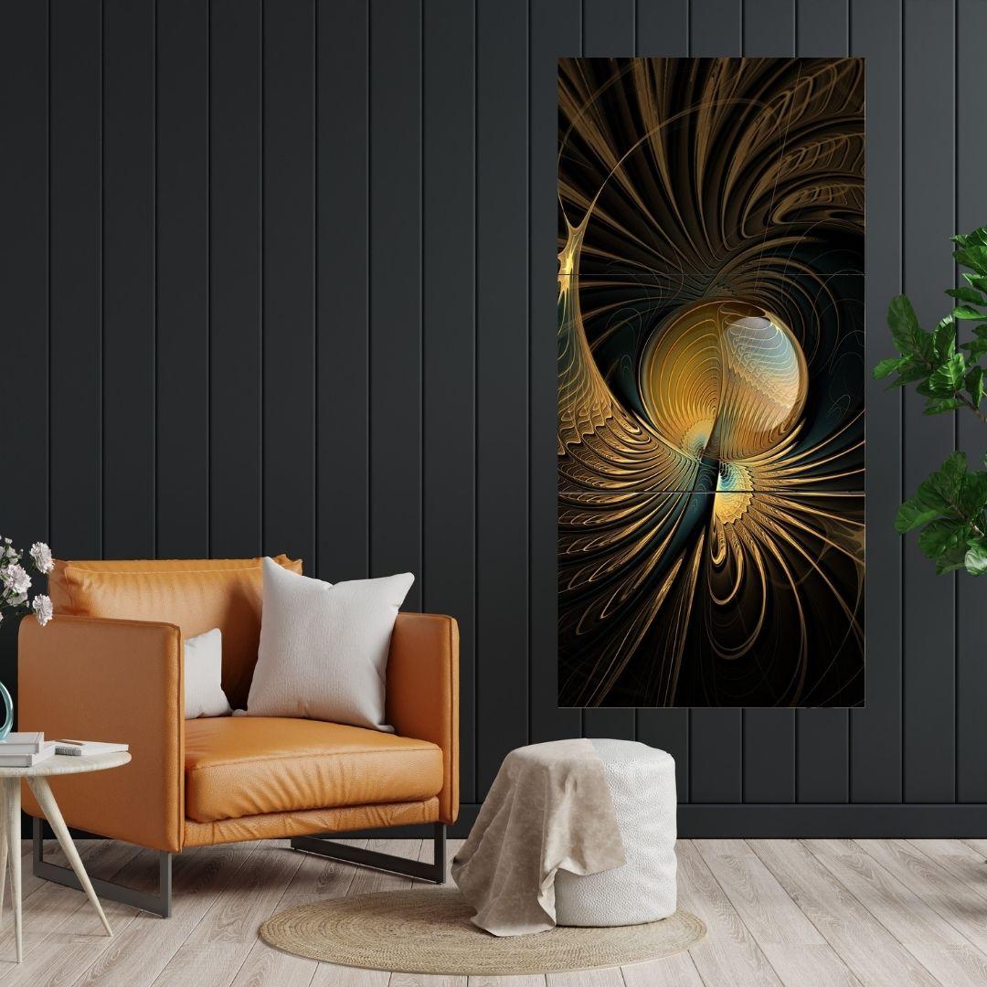 Quadros Para Sala - Três Telas - Fractal Abstrato Preto e Dourado - 210x100