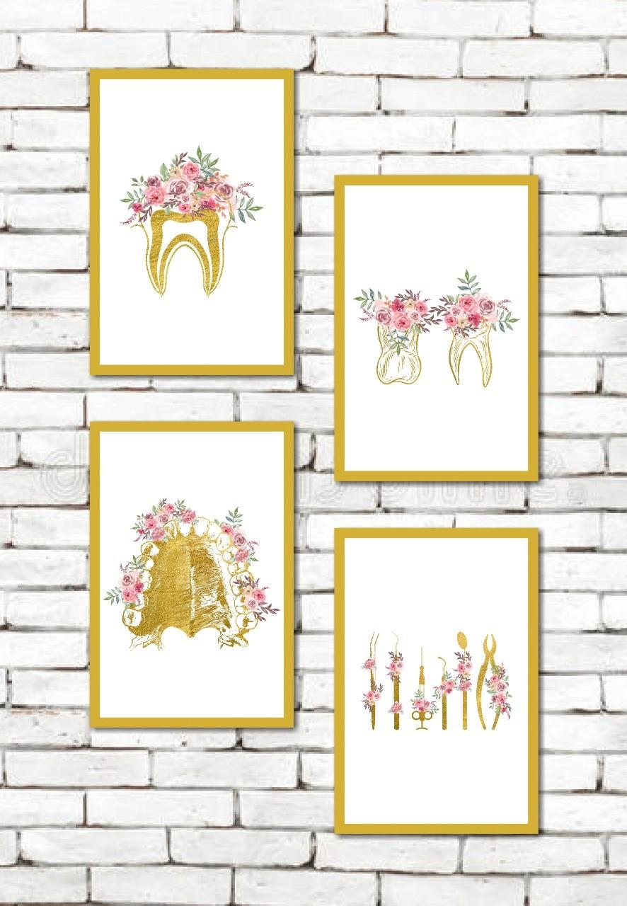 Quadros Decorativos - Odontologia - Gold Floral - 4 Peças - 40x60 cm