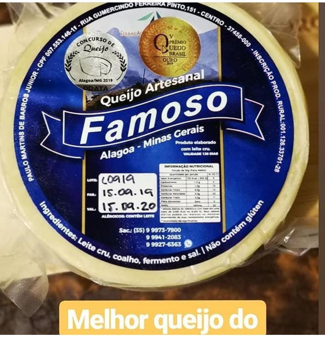 Queijo Artesanal ALAGOA de 1,0 Kg - PREMIADO - MEDALHA DE OURO