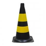 Cone Para Sinalização PVC Flexível Preto/Amarelo Diversos Tamanhos