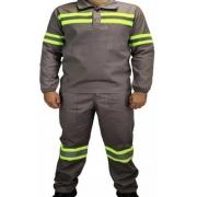 Conjunto para Trabalho Calça e Camisa em Brim com Refletivos