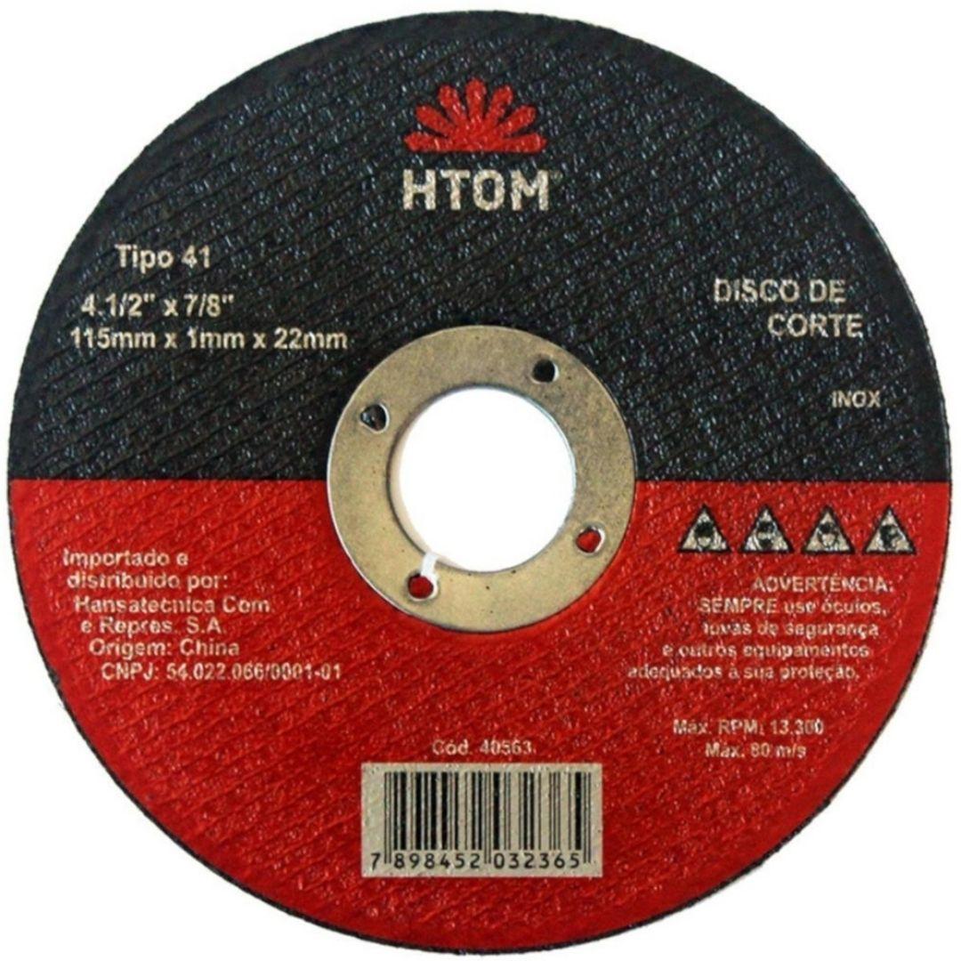 """Disco de Corte Inox 4.1/2"""" x 1 x 7/8"""" 10 Unidades Htom"""