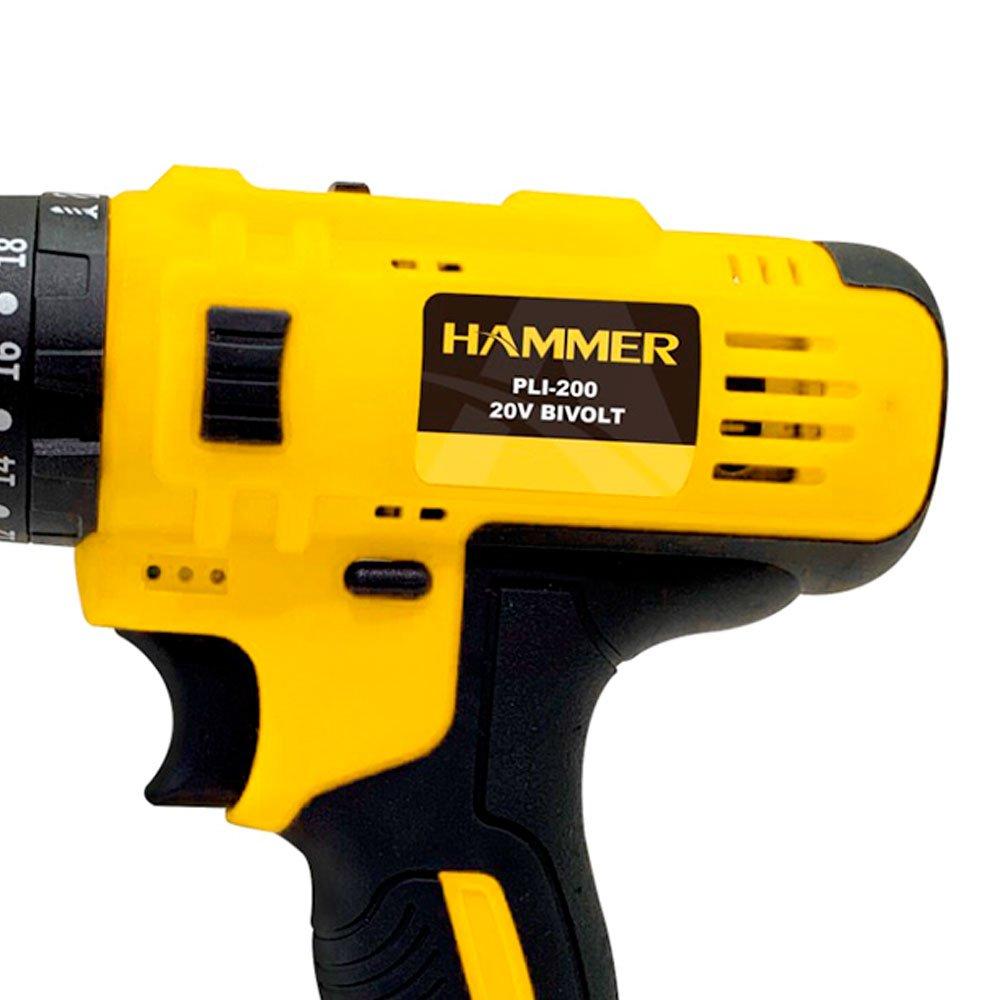 Furadeira Parafusadeira de Impacto PLI 200 20V 2 Baterias com Maleta Bivolt Hammer