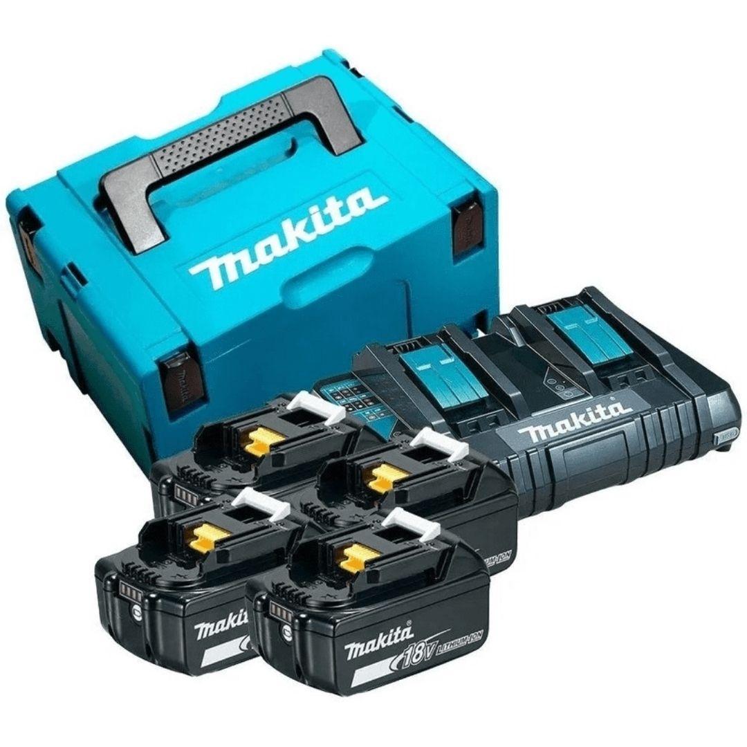 Kit Carregador de Bateria com 4 Baterias 5Ah e Carregador Duplo 220V Makita