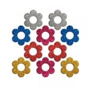 Aplique Adesivo Flores Blister 5cm Glitter Sortidas C/10 Un.