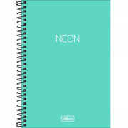 Caderno Espiral Capa Plástica Neon Turquesa 1/4 Sem Pauta 80 Folhas