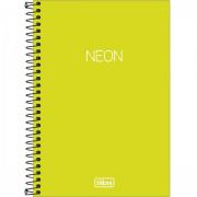 Caderno Espiral Capa Plástica Neon Verde Limão 1/4 Sem Pauta 80 Folhas