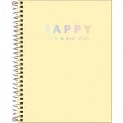 Caderno Happy Amarelo Com Pauta Colegio 1m 80 Folhas