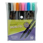Caneta Brush Dualtip Bismark 10 Cores Pastel