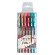 Caneta Gel Tris Effect Glitter Com 6 Cores