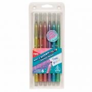 Caneta Hidrocor Mega Hidro Color 6 Cores Tons Pastel Glitter Tris