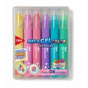 Giz de Cera Mega Gel Color Retrátil Tons Pastel 6 Cores Tris