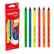 Lápis de Cor Jumbo Neon 6 Cores Molin
