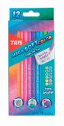 Lápis de Cor Triangular Mega Soft Color Tons Pastel 12 Cores Tris