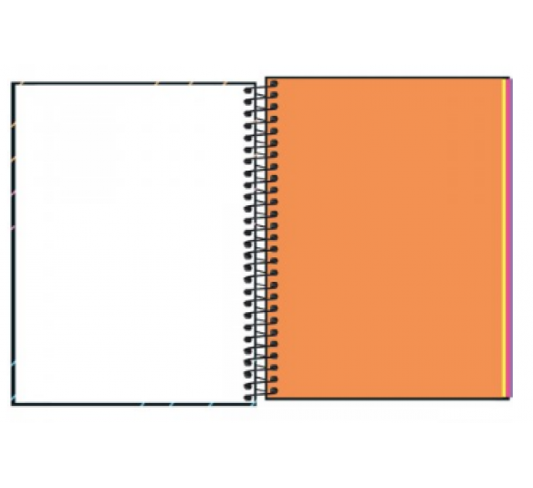 Caderno Capa Dura Neon Colegial Kori 1m 80 Folhas